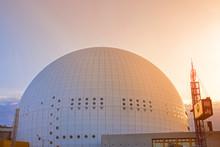 Halbkugel Globen Bei Sonnenuntergang In Globen City In Stockholm