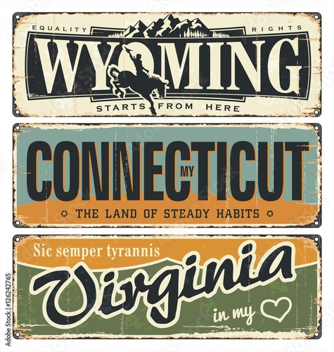 Vintage tin sign collection with America state. Wyoming. Connecticut. Virginia. Retro souvenirs on rust background. American flag. Patriot. Rodeo. Tradition. Grunge effects can be removed. USA state.