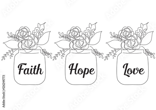 Flowers In Jars With Word Faith Hope Love Christianity Art Of