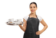Happy Waitress Holding A Tray With Two Cups