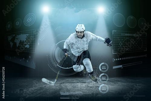 Plakat Lodowy gracz w hokeja na lodzie wokoło nowożytnego światła