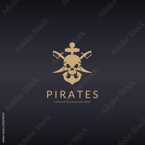 Fotografia, Obraz  Pirates logo. Skull logotype