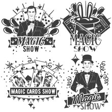 Vector Set Of Magic Show Labels In Vintage Style Isolated On White Background