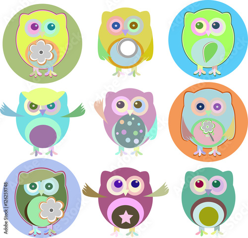 Canvas Prints colorful owls with nine color combinations isolated on white