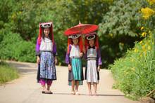 Three Young Thai Lady Lahu Tri...