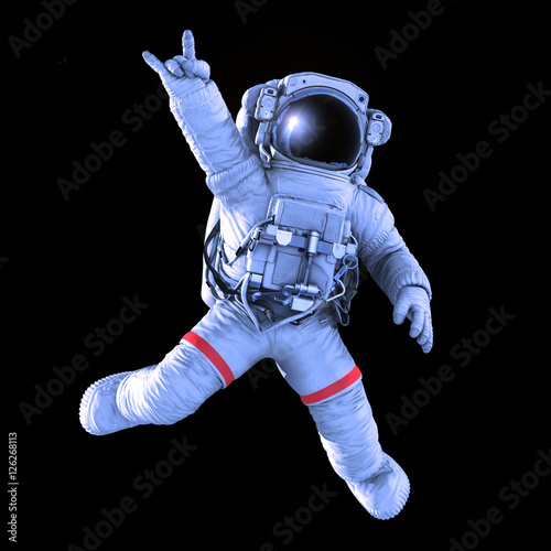 Photo  Rocking Astronaut on a black background, work path