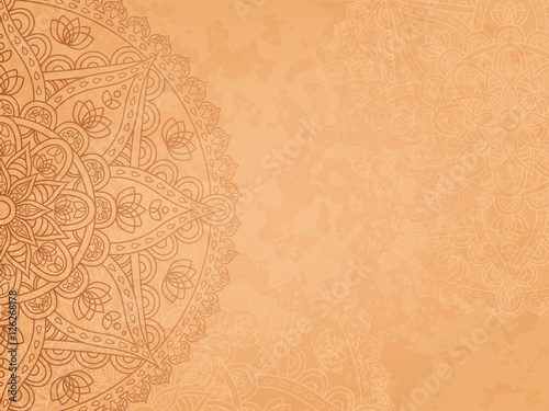Fotografie, Obraz  Horizontal background with oriental round pattern and texture of old paper