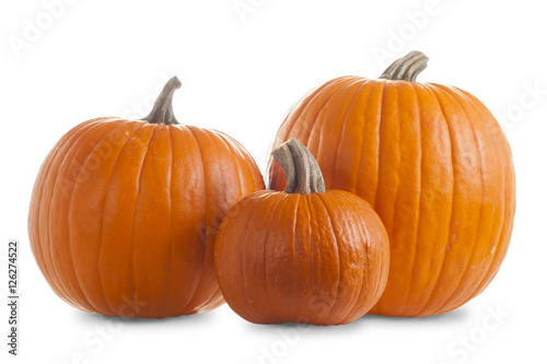 Three Pumpkins Isolated on White Background with Shadow Canvas Print