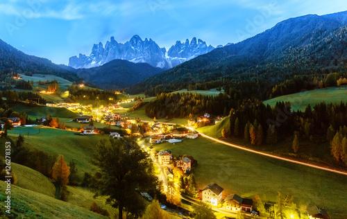 Santa Maddalena village, night scene, Dolomites mountains on background. Italy, South Tyrol.