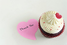 Cupcake With Red Heart And Tha...