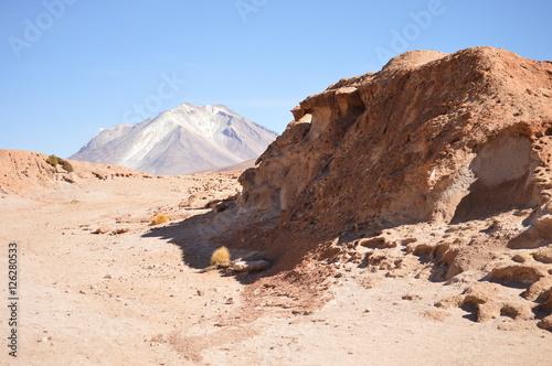 Fotografie, Obraz  Deserto boliviano com vulcão ao fundo
