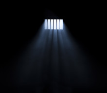 Light Coming Through A Barred Window With Fog