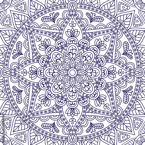 Cotton fabric Oriental seamless pattern. Blue outline square Arabic, Indian, American, Moroccan ethnic ornament such as adult coloring book, batik, t-shirt print. Mandala. Vector illustration.