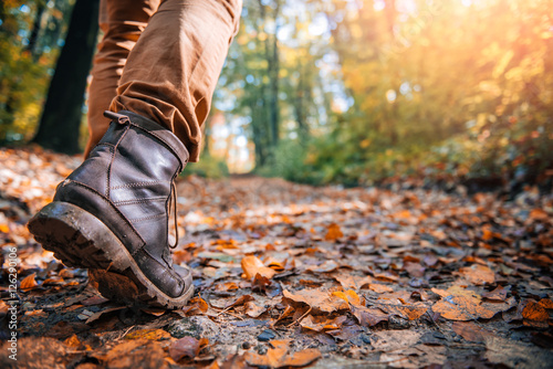 Obraz Hikers muddy boots - fototapety do salonu