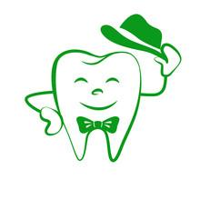 Dental Health Symbol. Stylized Funny Smiling Cartoon Tooth. Template Company Logo. Dentistry Logotype. Vector Illustration. Teeth Care.