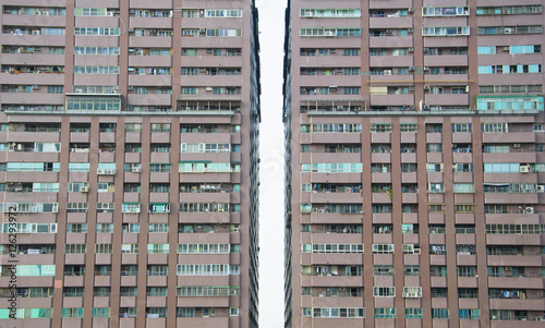 Tuinposter Industrial geb. Kaohsiung, Taiwan - April 2016: Facade of apartment block in the centre of the city.