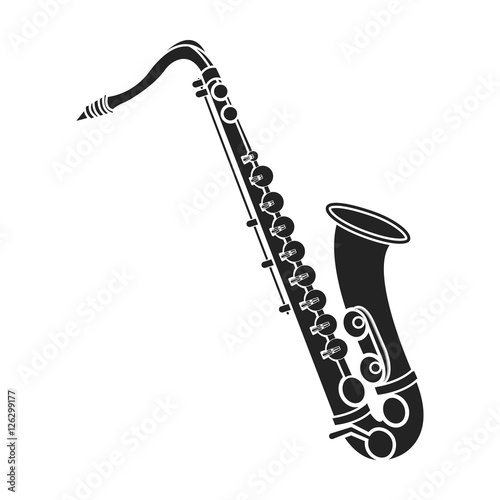 Saxophone Icon In Black Style Isolated On White Background Musical