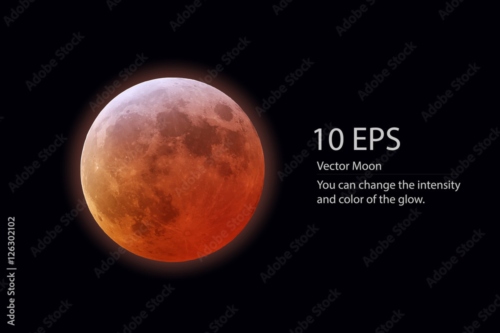 Fototapety, obrazy: isolated vector red moon