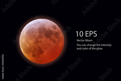 Photographie  isolated vector red moon