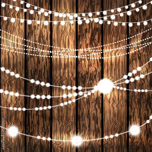 White String Christmas Lights.Set Of Glowing White String Christmas Lights For Xmas