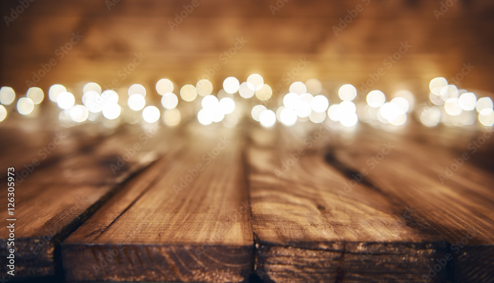 Fototapety, obrazy: lights on wooden rustic background