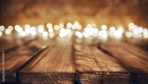 Obraz lights on wooden rustic background - fototapety do salonu
