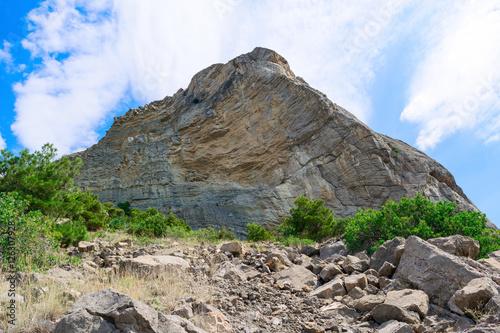 Fototapeta small slate rock. next are the stones after rockfall
