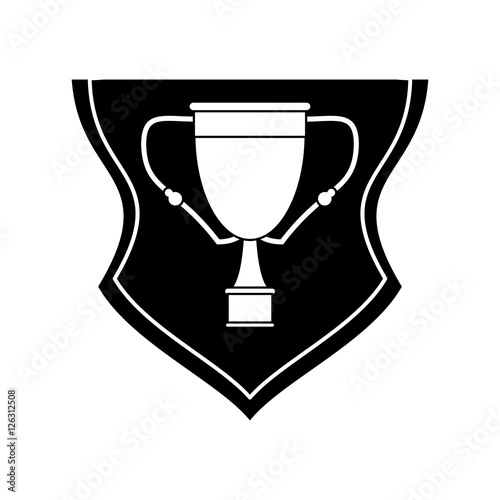 Trophy cup inside shield icon  Winner competition success