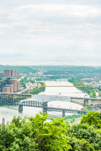 Recess Fitting Blue Vertical view of Pittsburgh city cityscape or skyline on overcast day with Liberty bridge and Monongahela river