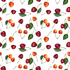 FototapetaSummer cherry berries watercolor seamless pattern. Watercolor cherries isolated on white background. For design, textile and background.