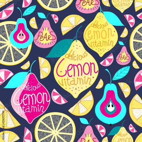 Tapeta ścienna na wymiar Seamless pattern lemons pears