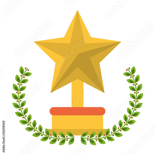 Trophy star inside wreath icon  Winner competition success