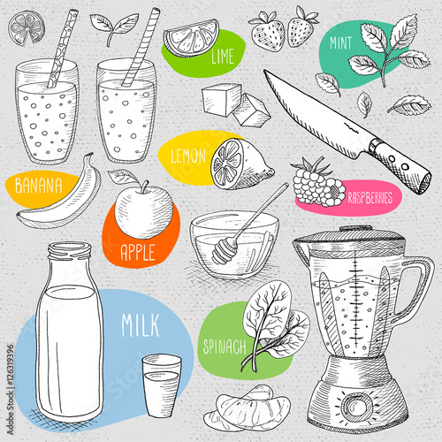 Set of stickers in sketch style, food and spices, old paper
