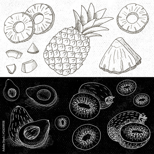 Set Of Chalk Hand Drawn In Sketch Style Food And Spices