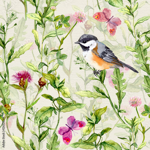 maly-ptak-wiosenna-laka-kwiaty-motyle-wzor-powtarzalny-akwarela