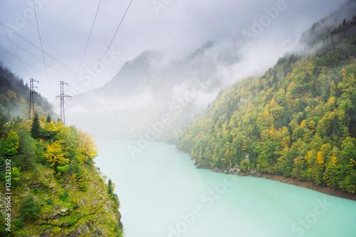 Staande foto Paardebloemen en water Beautiful landscapes with high mountains of Georgia, Europe.