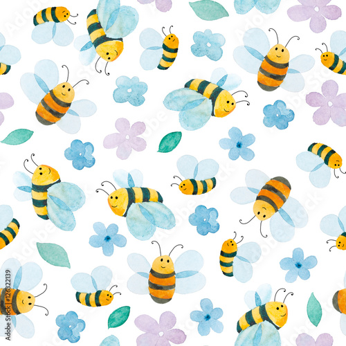 Cotton fabric watercolor pattern of smiling bee