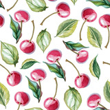 seamless background of cherry and leaves - 126322565