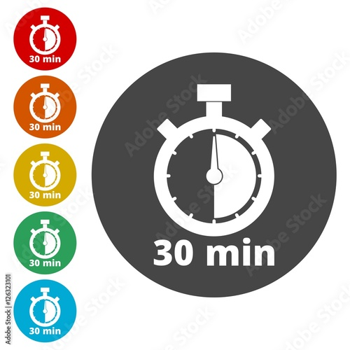 30 minutes stopwatch symbol, Timer icons set - Buy this