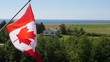 Slow motion of canadian flag in the wind