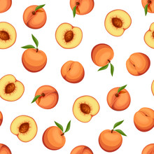 Vector Seamless Background With Peaches On A White Background.