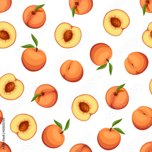 Vector seamless background with peaches on a white background. Fototapeta