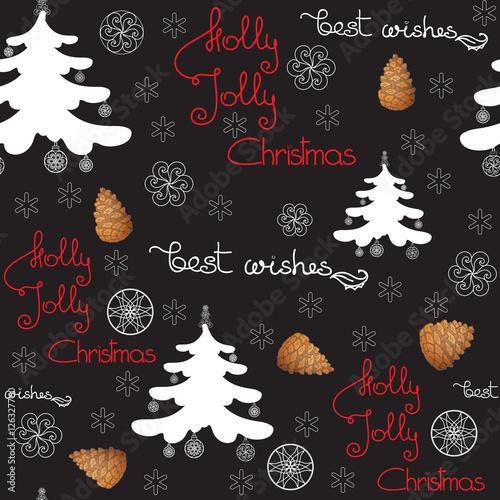 Stoffe zum Nähen Vektor Weihnachten Musterdesign. Enthalten Sie Tannenzapfen, Baum mit Spielzeug.