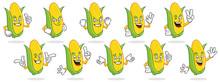 Corn Mascot Vector Pack, Corn Character Set, Vector Of Corn