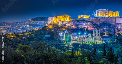 Printed kitchen splashbacks Athens Parthenon and Herodium construction in Acropolis Hill in Athens, Greece shot in blue hour