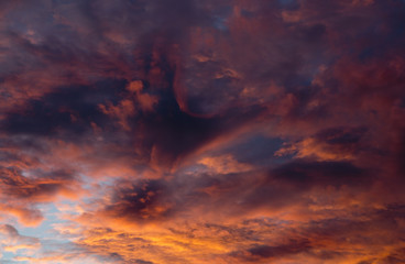 Fire red sunset and clouds