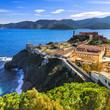 Elba island, Portoferraio lighthouse and fort. Tuscany, Italy.