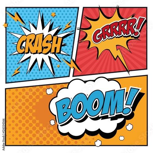 Fotobehang Pop Art Bubble pop art icon set. Comic communication retro and expression theme. Vector illustration
