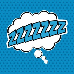 Bubble pop art sleep icon. Comic communication retro and expression theme. Vector illustration