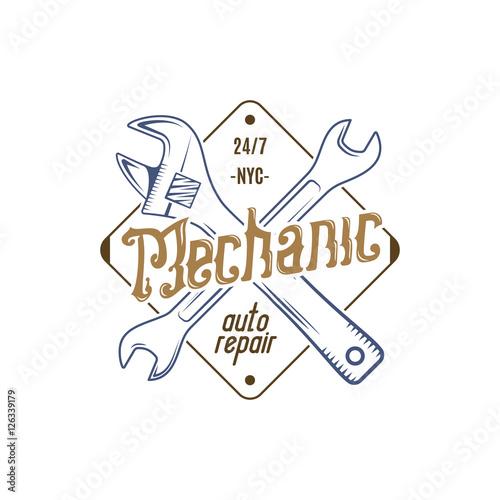 Mechanic repair service label  Illustration of repair service